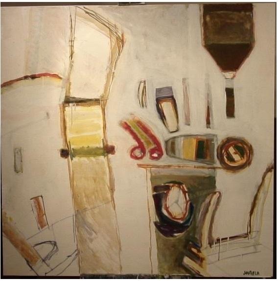 Muistini tarrataululta III, akryyli, 122x122, 2007