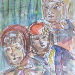 Kolme Naista, akvarelli