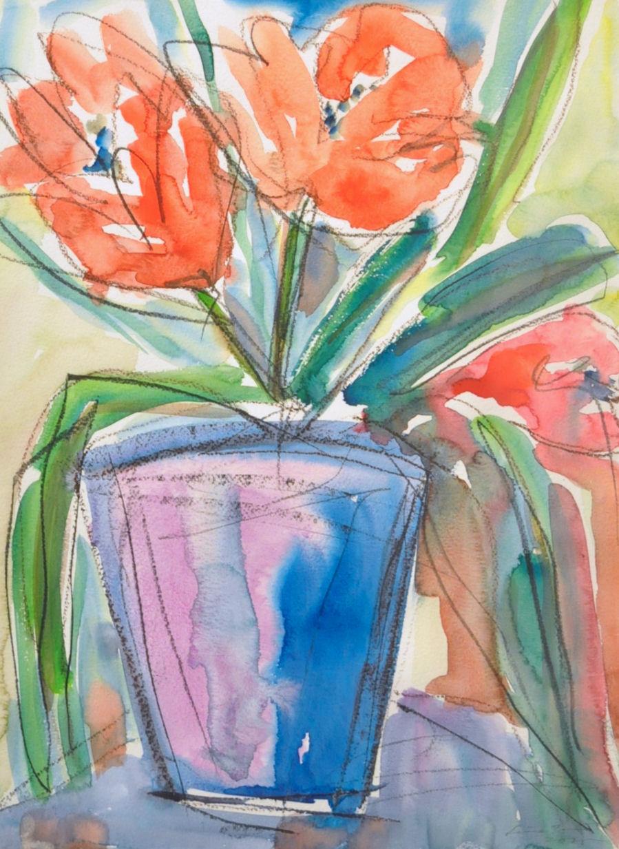 Tulppaaneja, akvarelli