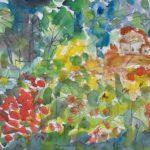 Metsää ja pilviä, akvarelli