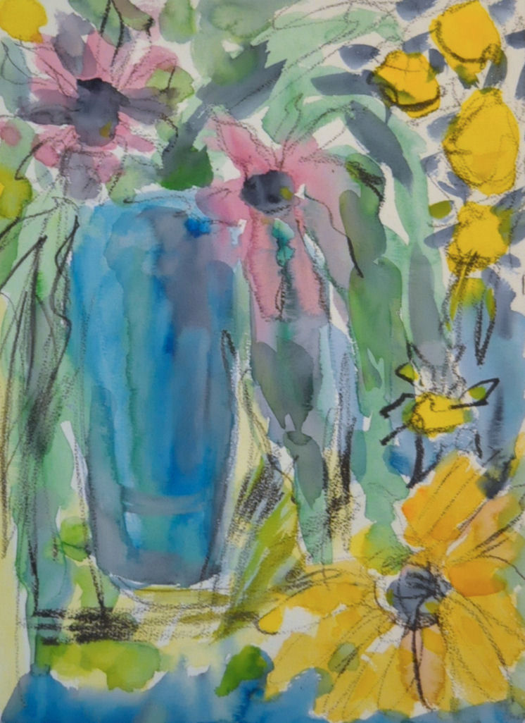 Kukkia maljakossa, akvarelli