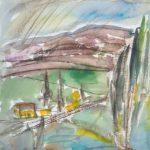 Talo maalla, akvarelli