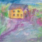 Aurinkoinen talo, akvarelli