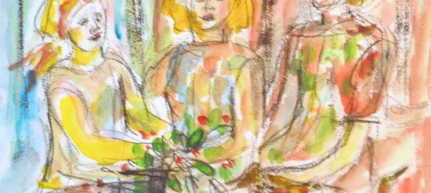 Kolme nuorta naista, kukkia ja neljä uteliasta lintua, akvarelli