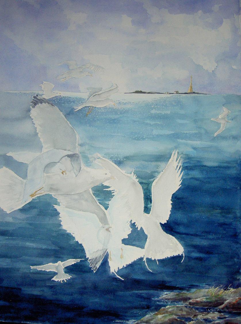 Lento meren yllä, 2008 akvarelli