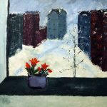 Tulppaanit ikkunalla, akryyli 2014 (90*90)