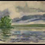 Myrskyn jälkeen, akvarelli