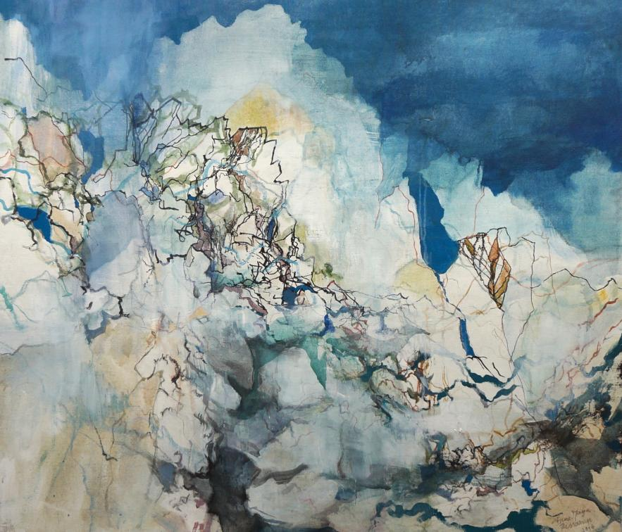 Mountains like Clouds, mixed media on canvas, 98x103cm, 2016