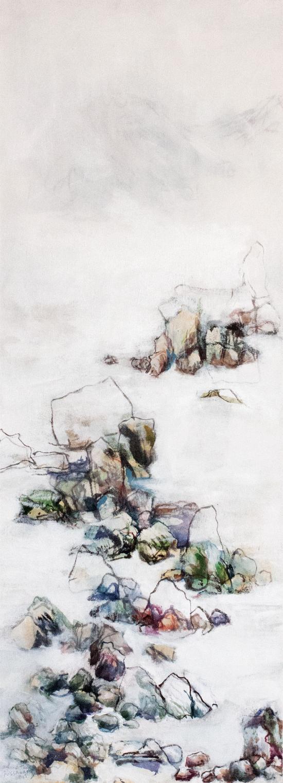 Pebbles, mixed media on canvas, 90x33,5cm, 2015