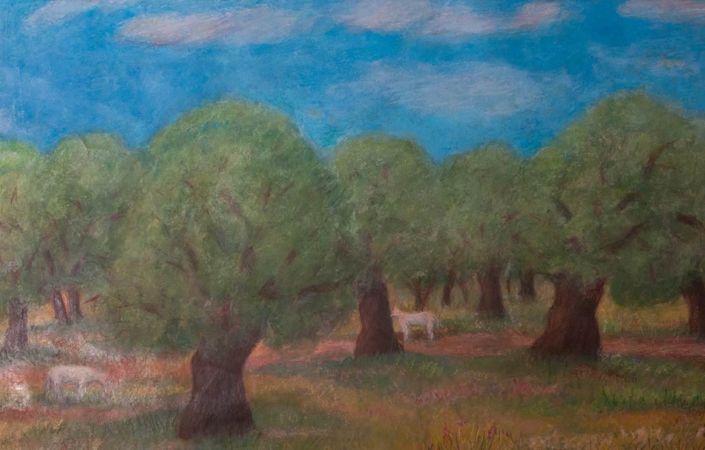 Öljypuulehto Kreeta, vesiväri 1995