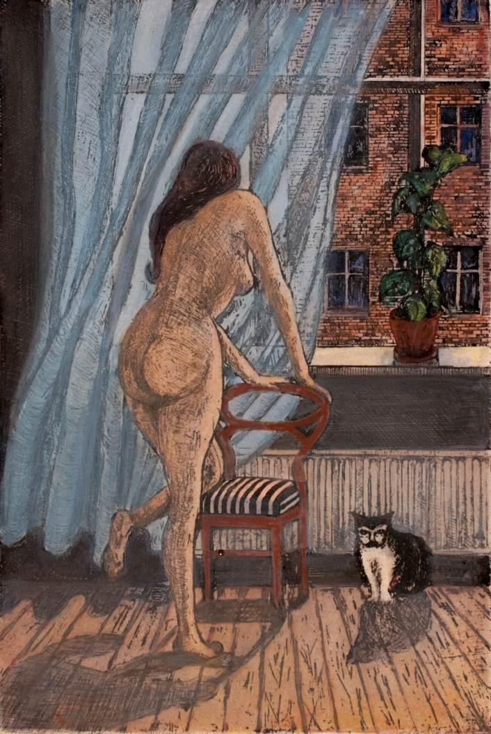 Tyttö ja kissa, etsaus vesiväri 1983