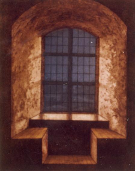 Valaistu linnan ikkuna