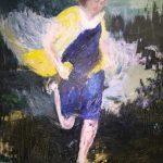 Kun karkuri saatiin kiinni hänellä oli taskut täynnä kantarelleja, öljy, 2018 (runo Tomas Tranströmer), 116×89