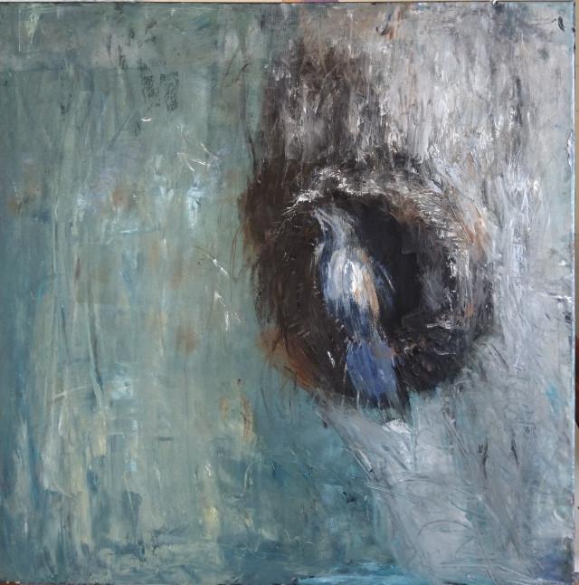Lintu pesänsuulla, öljy, 2019, 50×50