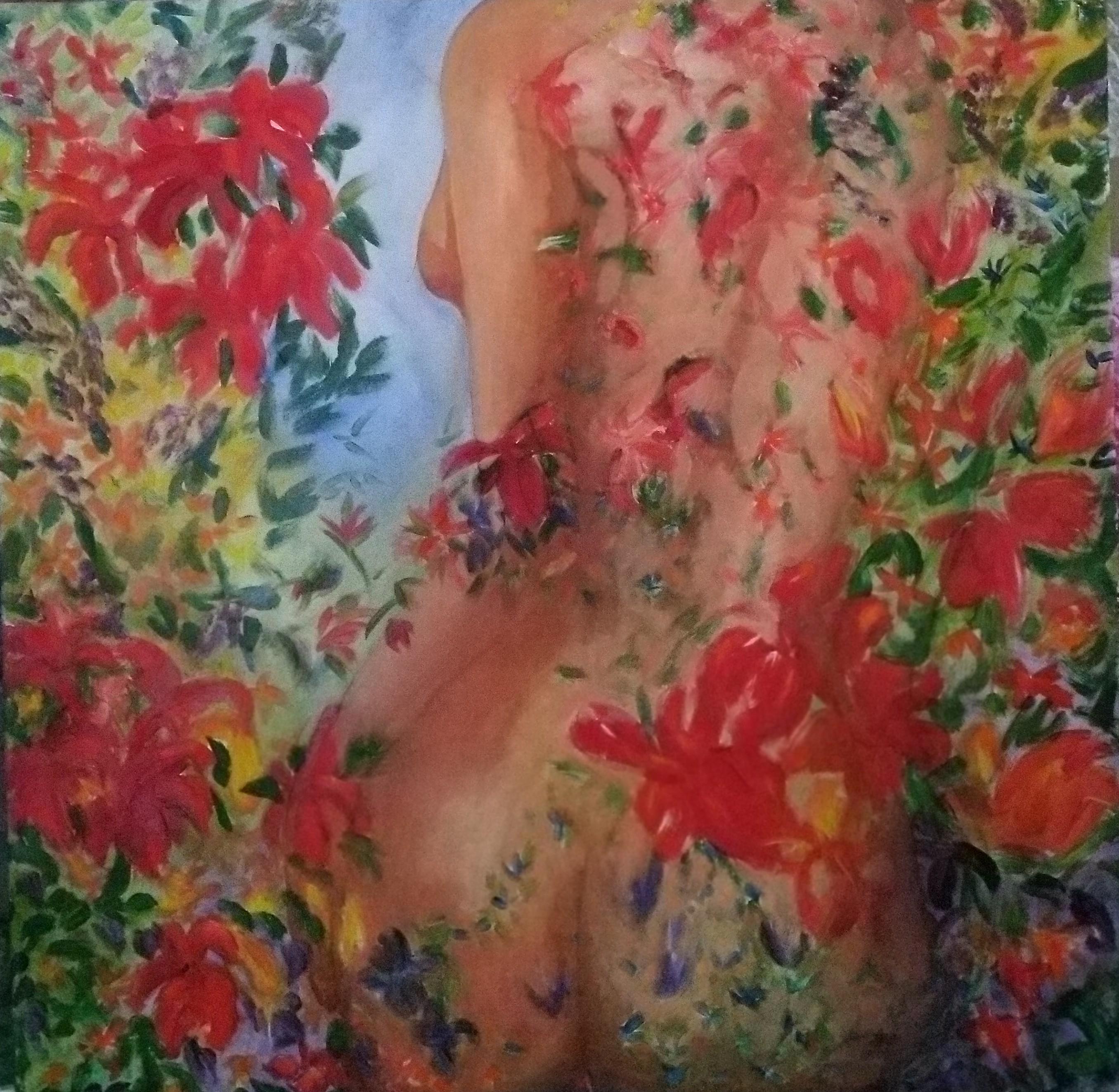 Kareno Maarit, Nämä kukat ihollani, sekatekniikka_80x80cm_2019