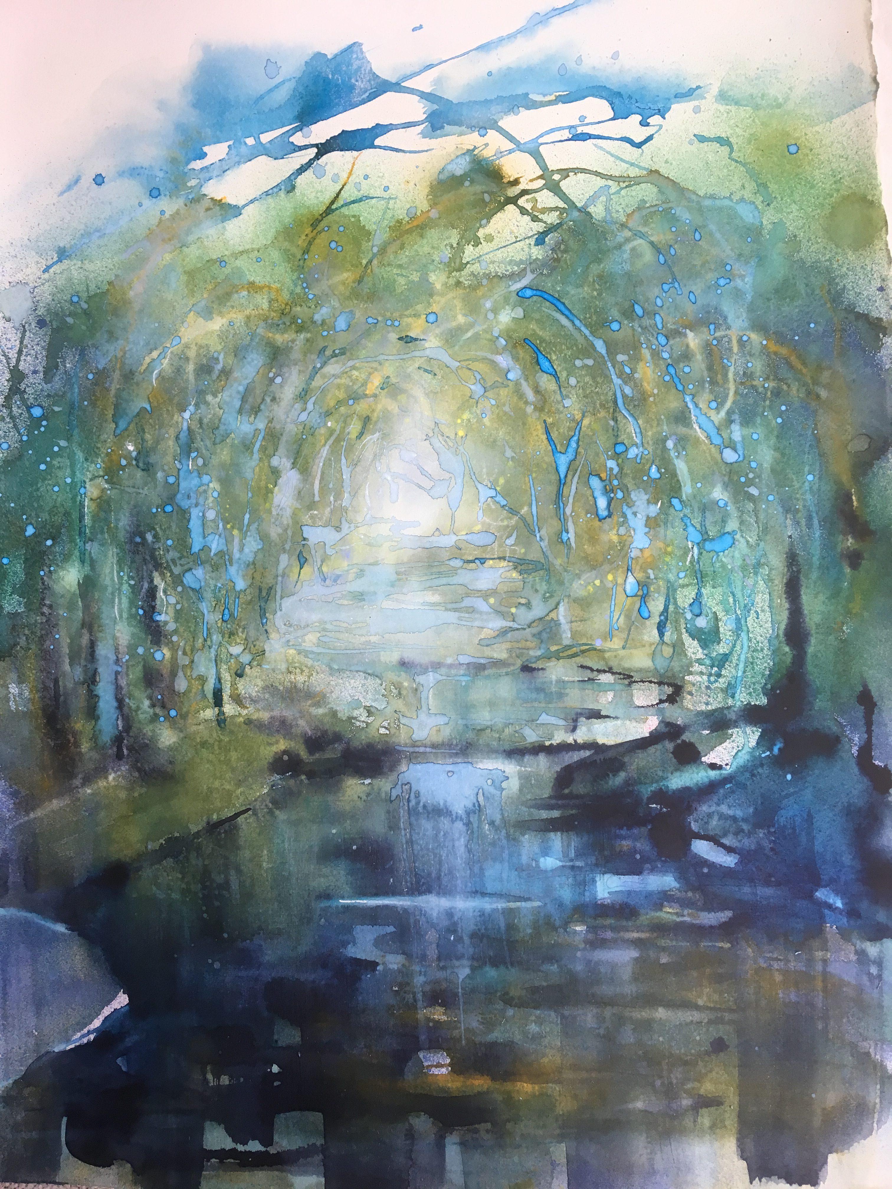 Kristiina Kostia, Syvälle metsään, akvarelli 76x56 cm, 2019