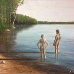 Lapset rannalla, öljy, 50x70cm, 2018