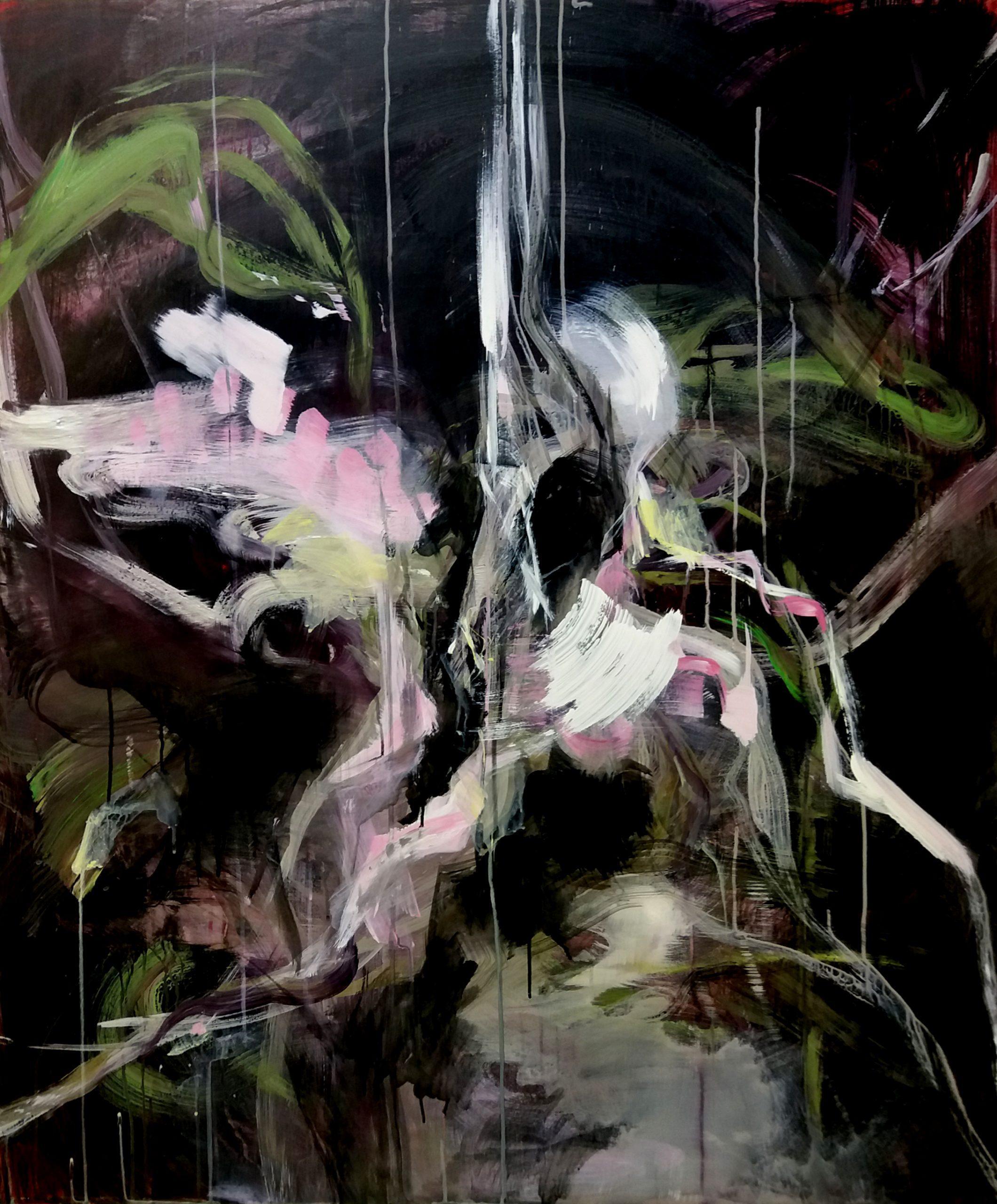 "Mansikka Anni,""Yöjuoksu"", 100x120cm, akryyli mdf-levylle, 2018"