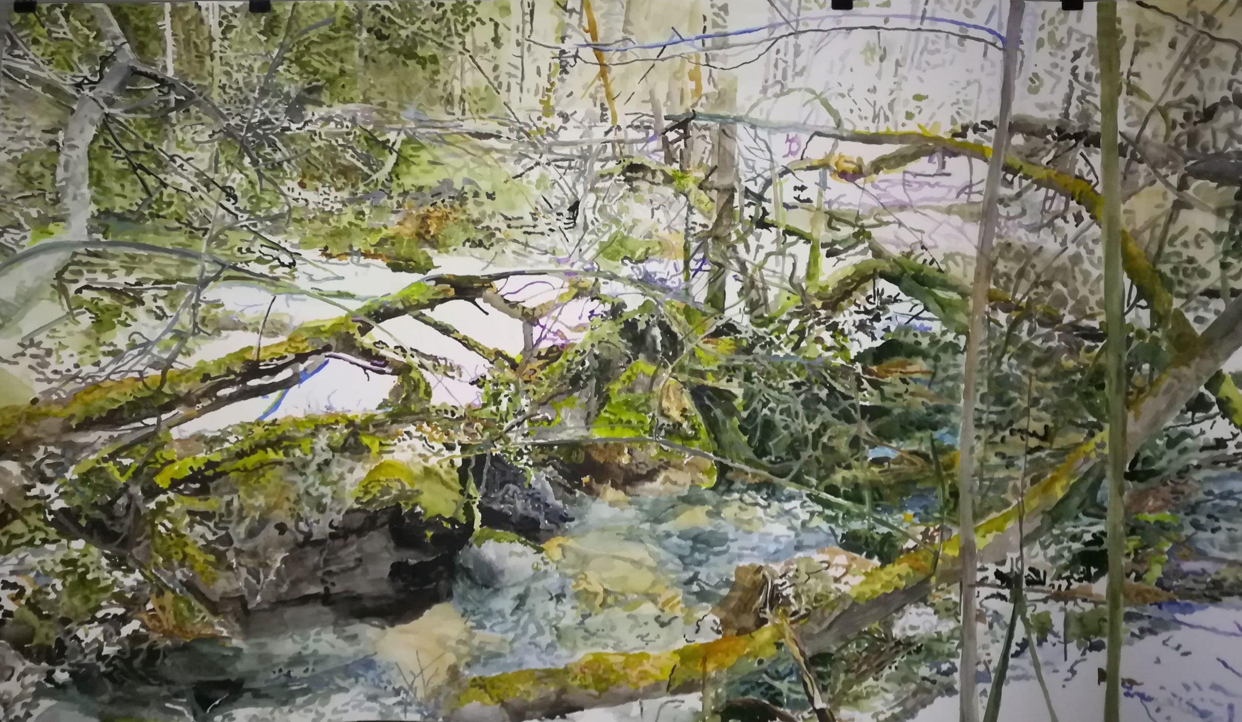 Töyräs, akvarelli 2018 150x90cm