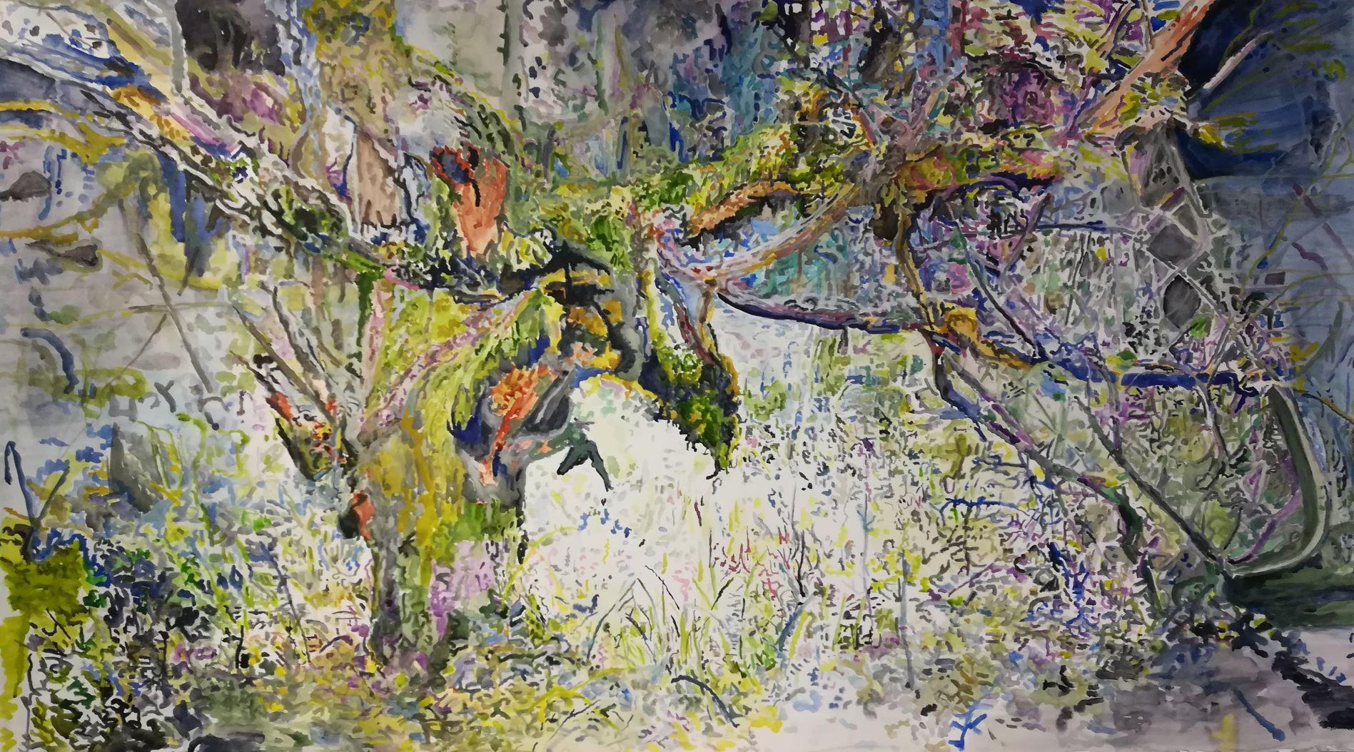 Vanha puu , akvarelli 2019 150x90cm